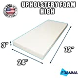 """FOAMMA High Density Upholstery Foam Cushion (Seat Replacement , Upholstery Sheet , Foam Padding) Fast! Made in USA!! (3"""" x 24"""" x 72"""")"""
