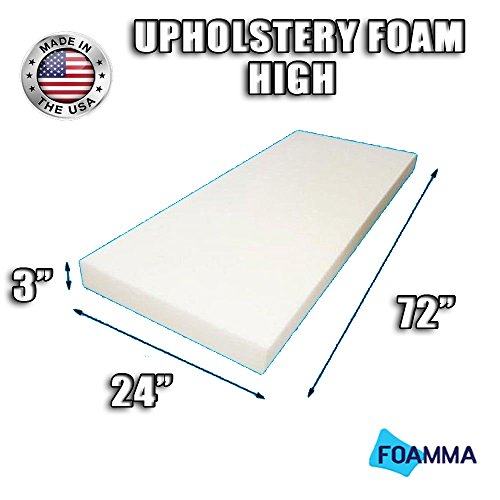 "FOAMMA High Density Upholstery Foam Cushion (Seat Replacement , Upholstery Sheet , Foam Padding) Fast! Made in USA!! (3"" x 24"" x 72"")"