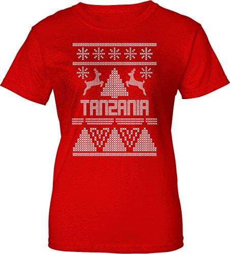 TANZANIA Ugly Sweater Christmas Holiday Womens Ladies Tee 2XL Red (Tanzania Sweater)