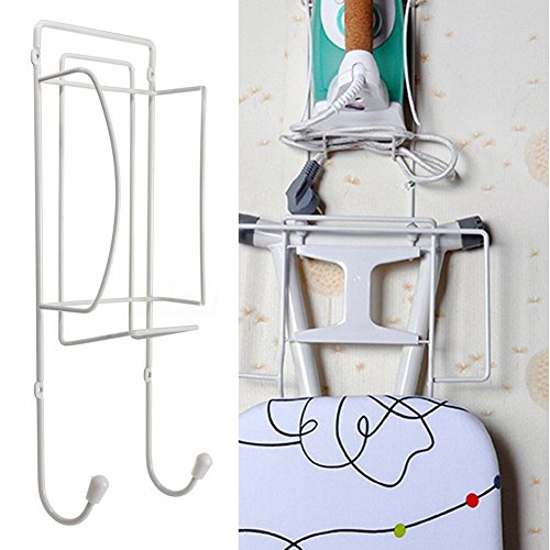 Door or Wall Mounted Iron and Ironing Board Holder Polished Chrome Finish Hanger by Orangehome