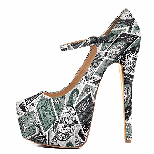 Green Patent Mary Jane - Onlymaker Womens Fashion Ankle Strap Platform High Heel Mary Jane Stiletto Pumps Party Dress Shoes Green Print 9 M US