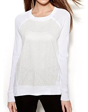 Calvin Klein Perforated Faux-leather Sweater - Birch
