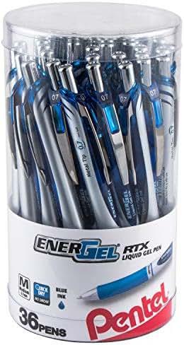 Pentel EnerGel RTX Retractable Liquid Gel Pen Canister, Blue Ink, 36pk (BL77PC36C)