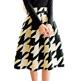 MIOIM Womens OL High Waist Pleated A Line Houndstooth Floral Printed Midi Skirts