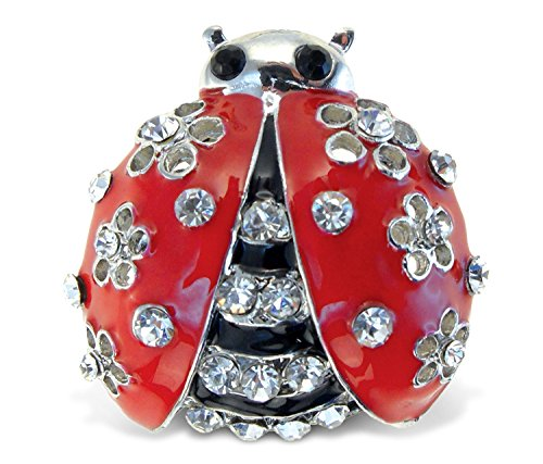 Ladybug Crystal - Puzzled M Ladybug Refrigerator Sparkling Magnets with Crystals, 5, Red, black, silver