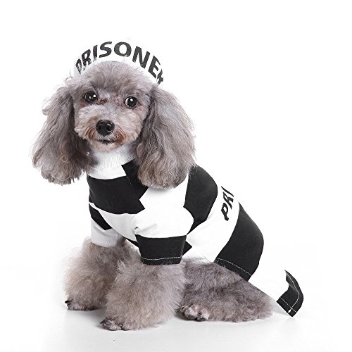 Glumes Prison Prisoner Pet Costume with Hat for Dogs Outfit Dog Vest Halloween Day Pet Costumes Cool Cute Dog Pet Cosplay Clothing]()