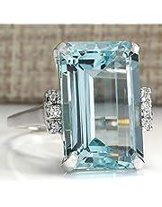 Zhiwen Vintage Fashion Women 925 Silver Aquamarine Gemstone Ring Engagement Wedding Jewelry Size 5-11