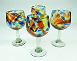 Mexican Glass, Wine, Confetti Swirl, Large (Set of 4) 16 Oz