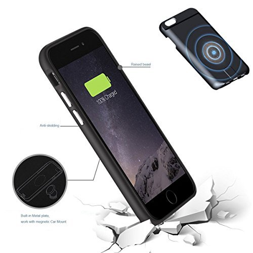 Wireless Charger Power Everyday Protective case for iPhone 6 plus 7 plus Kit Innovative Three-in-one Wireless (Black 5.5 inch)