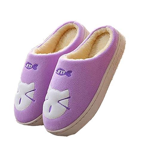 Primavera para Mujer Zapatillas de Dibujos Animados Gato Antideslizante Suave y cálido para Mujer en el Piso Interior Casa Dormitorio Zapatos: Amazon.es: ...