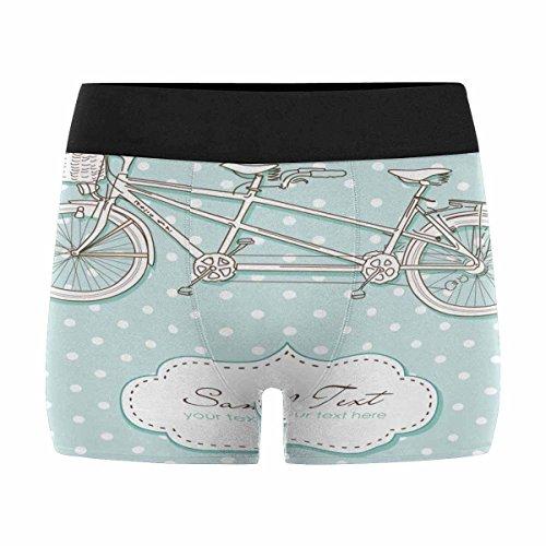 InterestPrint Mens Boxer Briefs Underwear Tandem Bicycle Wedding Invitation with Polka Dot XXXL by InterestPrint