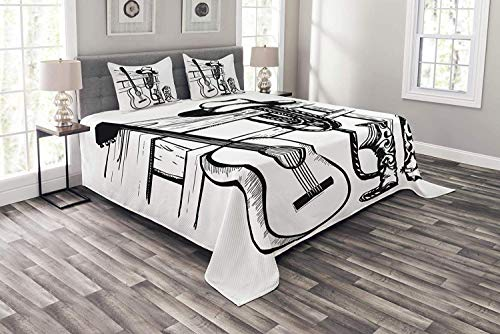 Black Folk Guitar Set - Lohebhuic Western Coverlet Set King Size, Country Music and Cowboy Rodeo Theme with Guitar Folk Culture Sketchy Design, Decorative Quilted 3 Piece Bedspread Set with 2 Pillow Shams, Black and White
