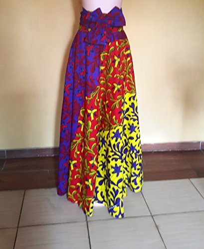 Esty Ankara African Long Flare Skirt With Two Pockets And A Belt Size M L Xl Xxl