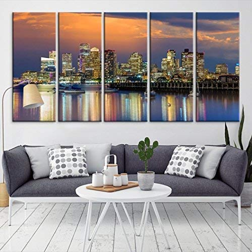 Amazon Large Wall Art Boston Skyline Canvas Print For Home