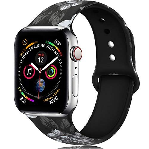 Laffav Pattern Band Compatible with Apple Watch 40mm 38mm for Women, Replacement Sport Bands for iWatch Apple Watch Series 4/3/2/1, Grey Flower, M/L
