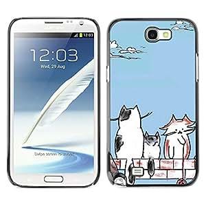 Caucho caso de Shell duro de la cubierta de accesorios de protección BY RAYDREAMMM - Samsung Galaxy Note 2 N7100 - Cats;