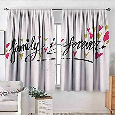 """All of better Family Window Curtain Fabric I Love My Family Phrase Hand Writing in Black Calligraphy Art Positive Quote Drapes for Living Room 55"""" W x 39"""" L Black and White"""