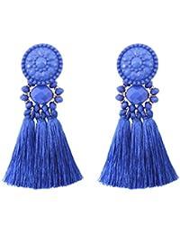 Bohemian Statement Thread Tassel Chandelier Drop Dangle Earrings with Cassandra Button Stud