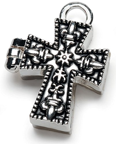 Darice BG2027 Antiqued Silver Cross Charm Prayer Box Antiqued Prayer Box Charm