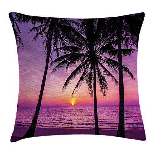 Ocean Decor Throw Pillow Cushion Cover by Ambesonne, Palm Trees Silhouette at Sunset Dreamy Dusk Warm Exotic Twilight Scenery, Decorative Square Accent Pillow Case, 18 X18 Inches, Purple - Silhouette Palm