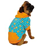 East Side Collection Polyester/Cotton Blooming Brights Dog Pullover, Small, Blue
