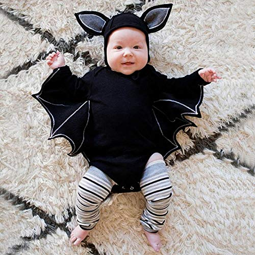 Halloween Dress Up, USHOT Toddler Newborn Baby Boys Girls Halloween Cosplay Costume Romper Hat Outfits Set, Black, 18-24M