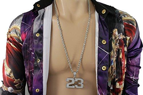 23 Costume Miley Cyrus (TFJ Men Hip Hop Fashion Necklace Long Metal Chains Big Number # 23 Urban Jewelry Las Vegas Silver)