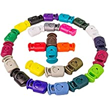 Cord Lock Clamp by FMS Ravenox | Toggle Stop Slider for Paracord, Bungee Cord, Accessory Cordage, Drawstrings | Single Hole Heavy Duty Industrial Plastic (Multiple Colors)