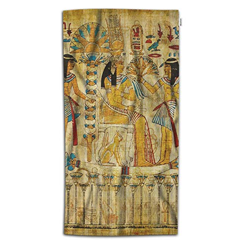 Moslion Egyptian Bath Towel Vintage African Papyrus Pharaoh Maids with Sword Cat Bird Towel Soft Microfiber Baby Hand Beach Towel for Kids Bathroom 32x64 Inch Brown