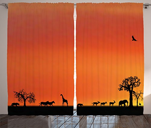Ambesonne Wildlife Decor Curtains, Panorama of Safari Animals Gulls Reflections in Background at Sunset, Living Room Bedroom Window Drapes 2 Panel Set, 108 W X 90 L Inches, Burnt Orange Black