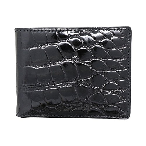 Black Genuine Glazed Alligator Wallet - RFID Blocking - American Factory Direct - Made in USA by Real Leather Creations FBA729 BT (Wallets Crocodile Skin)