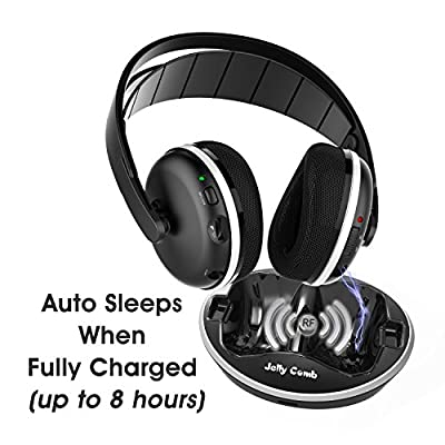 Wireless TV Headphones, Jelly Comb Over-Ear Wireless RF Headphones with Charging Dock, Volume Control for LG Sony TV, Cell Phone, Tablet, PC, DVD - Black