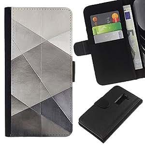 EJOY---La carpeta del tirón la caja de cuero de alta calidad de la PU Caso protector / LG G2 D800 / --Sheet Metal Papel Plata Polígono patrón