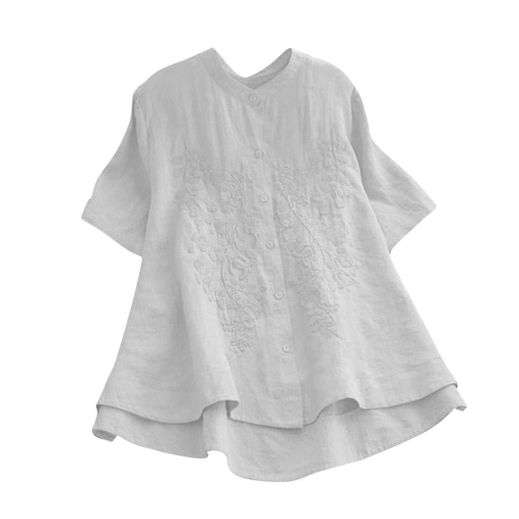 Sunyastor Women's T-Shirt, Plus Size Cotton Linen Short Sleeve Floral Embroidered Vintage Button Loose Blouse Tops White