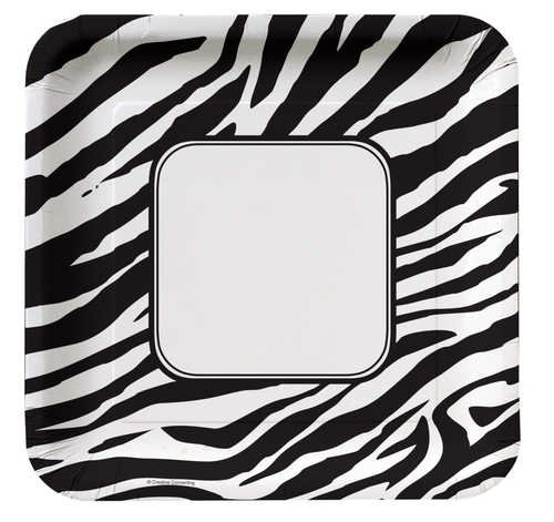 Creative Converting Animal Print Zebra Square Dinner Plates, 8 Count, Health Care Stuffs