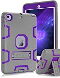 Topsky Built-in Kick Stand 3 Layers Armor Case for iPad Mini,Mini 2 and Mini 3 Bundle with Stylus Pen, Screen Protector and Microfiber Cleaning Cloth - Grey / Purple¡