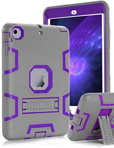 Topsky Built-in Kick Stand 3 Layers Armor Case for iPad Mini,Mini 2 and Mini 3 Bundle with Stylus Pen, Screen Protector and Microfiber Cleaning Cloth - Grey / Purple¡ - Touch 2 Stylus