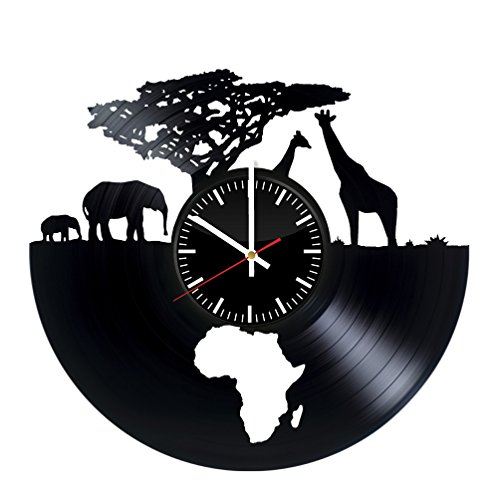 African Animals Clock - Africa Safari Vinyl Record Wall Clock - Wall Art Room Decor Handmade Decoration Party Supplies Theme - Handmade Present For Kids Adults Men Women - Vintage and Modern Style ()
