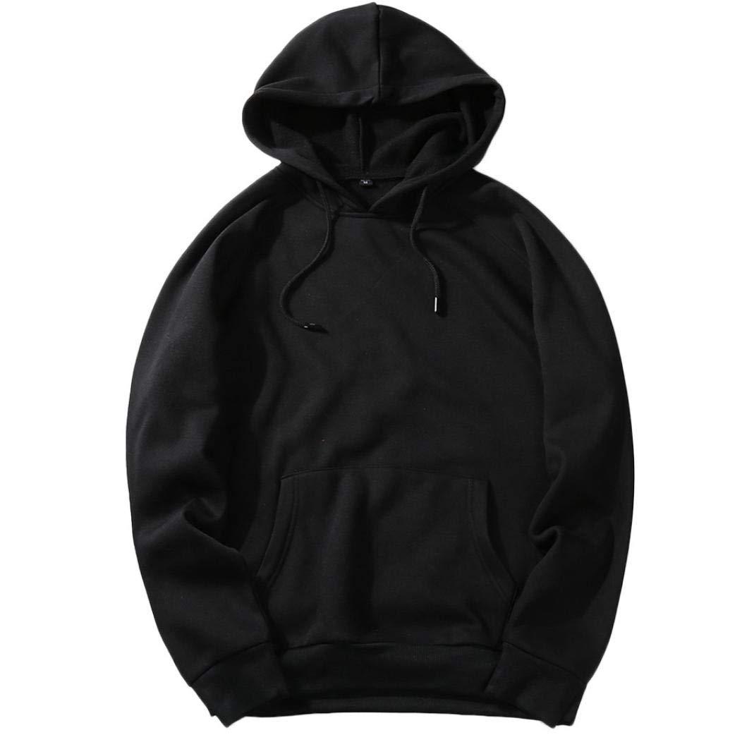 Xchenda Men's Autumn Solid Hip Pop Big Pocket Loose Fit Fleece Long Sleeve Hoodie Pullover Coat Top Blouse (XL, Black)