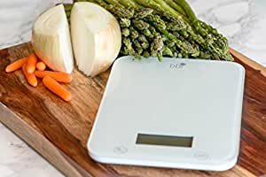 BBI Digital Kitchen Food Scale, One Ultra Slim Multifunction With LCD Display, 11 lb or 5kg, White