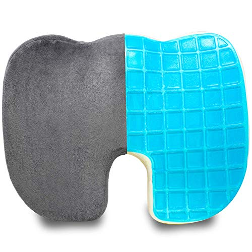 Pivit Memory Foam + Cooling Gel Transport Wheelchair Coccyx Cushion   Non-Slip Orthopedic Donut Pillow Support for Sciatica Tailbone & Back Pain Relief   Office Back & Seat Cushions   18