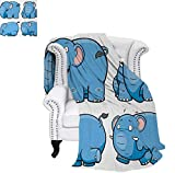 How Many Feet Is a California King Bed Digital Printing Blanket Kids Nursery Boys Girls Baby Room Clumsy Cartoon Cute Elephant Image Print Lightweight Blanket 60