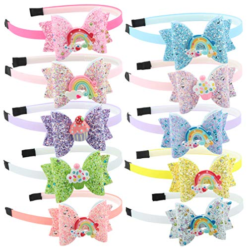 Sequin Hair Band - Glitter Bows Girls Hairbands Sequin Hair Bows Headband with Rainbow Ice Cream Hair Band for Teens Toddler Kids Children Accessories Pack of 10