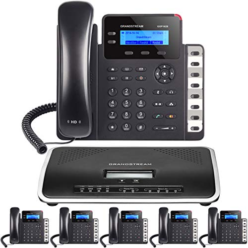 Business Phone System by Grandstream: Starter Package Including Auto Attendant, Voicemail, Cell & Remote Phone Extensions, Call Recording & Free Phone Service for 1 Year (6 Phone Bundle)