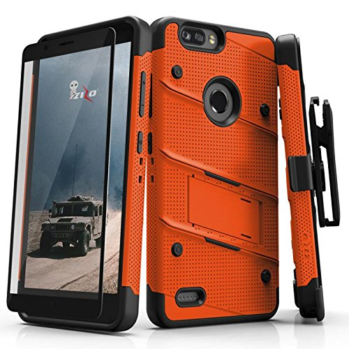 Cell Accessories For Less (TM) ZTE Blade Z Max Z982 - BOLT Case Cover Kickstand Holster Tempered Glass - Orange Bundle (Stylus & Micro Cleaning Cloth) - By TheTargetBuys