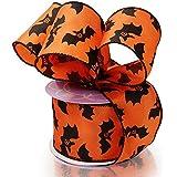 "Cute Bats Halloween Wired Ribbon - 2 1/2"" x 10 Yards, Orange & Black, Bows, Wreath, Party Decor"