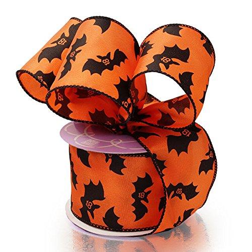 Cute Bats Halloween Wired Ribbon - 2 1/2