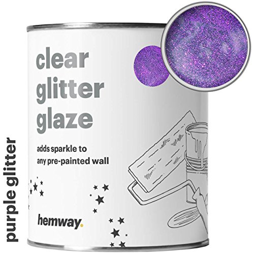 Hemway Clear Glitter Paint Glaze (Purple) 1L/Quart for Pre-Painted Walls Acrylic, Latex, Emulsion, Ceiling, Wood, Varnish, Dead flat, Matte, Soft Sheen, Silk (CHOICE OF 25 GLITTER COLOURS)