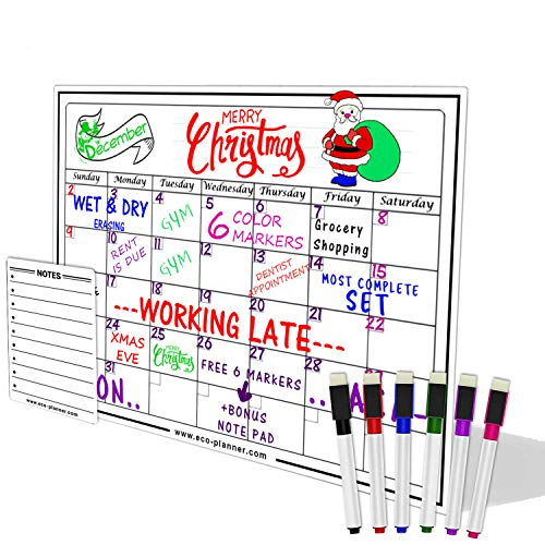 Eco Planner Monthly White Board Magnetic Calendar For Refrigerator Dry Erase Board with Bonus Notepad and 6 Magnetic Brightly Colored Markers with Eraser Included 13