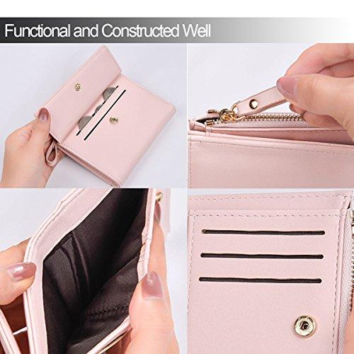 Damen Geldbörse Leder Stylisch Portemonnaie Geldbeutel Querformat Brieftasche Portmonee Börse in Geschenkbox Rosa uMktO2MM5h